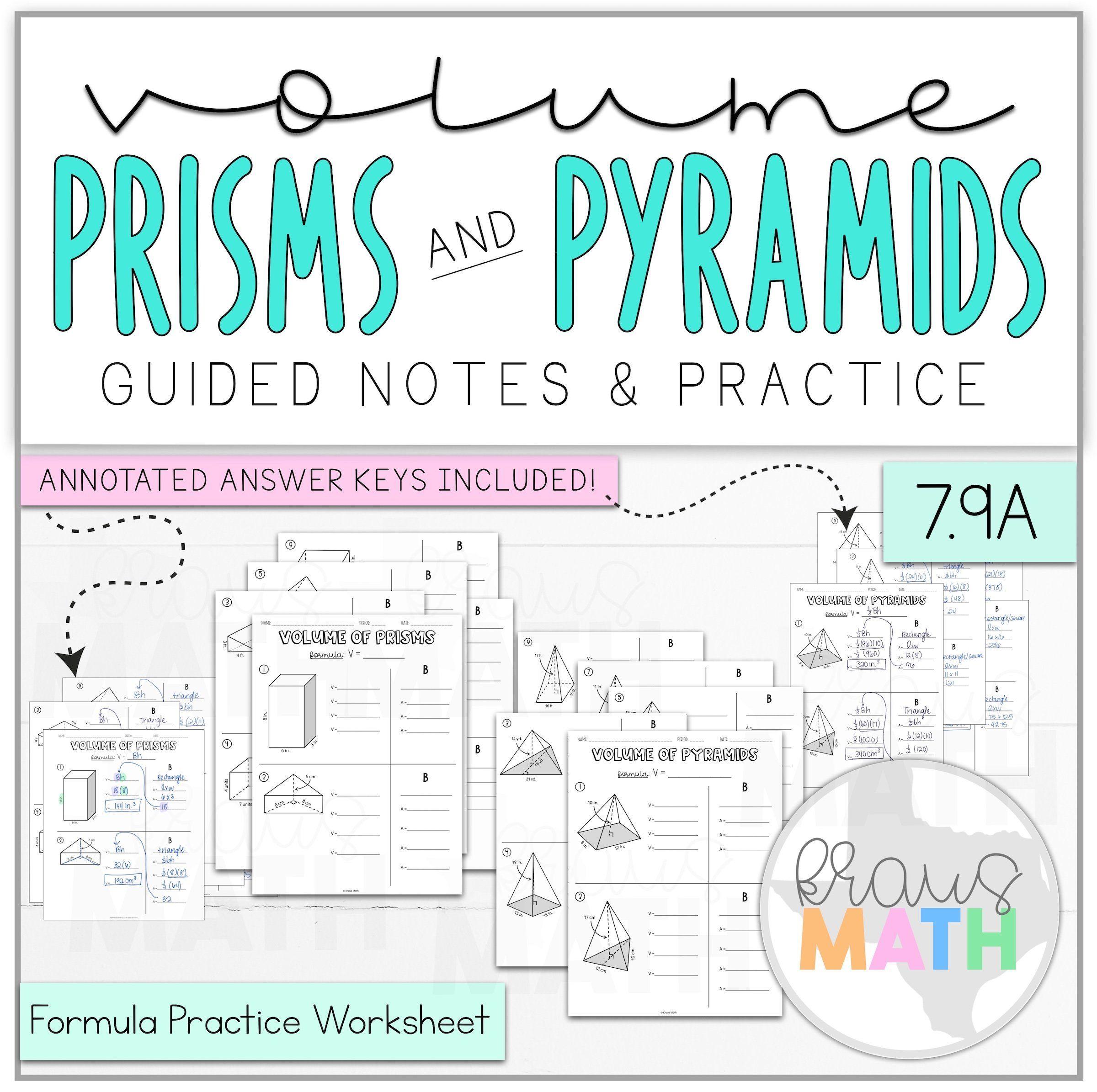Volume Of Prisms Pyramids Worksheet Bundle Teks 7 9a Kraus Math Math Formulas Kids Worksheets Printables Math Teks