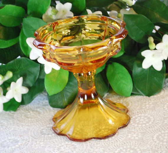 Vintage Depression Glass, Amber Yellow Footed Bowl, Fruit Candy Compote Dish, FENTON, 1960s Mid Century Housewares Glassware Home Decor by TheGildedSwan, $17.00