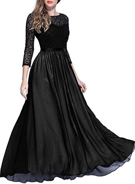 MIUSOL Women's Formal Evening Maxi 2/3 Sleeve Lace Dresses ...