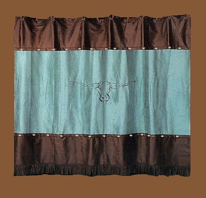 Turquoise Longhorn Shower Curtain BA 9085 S