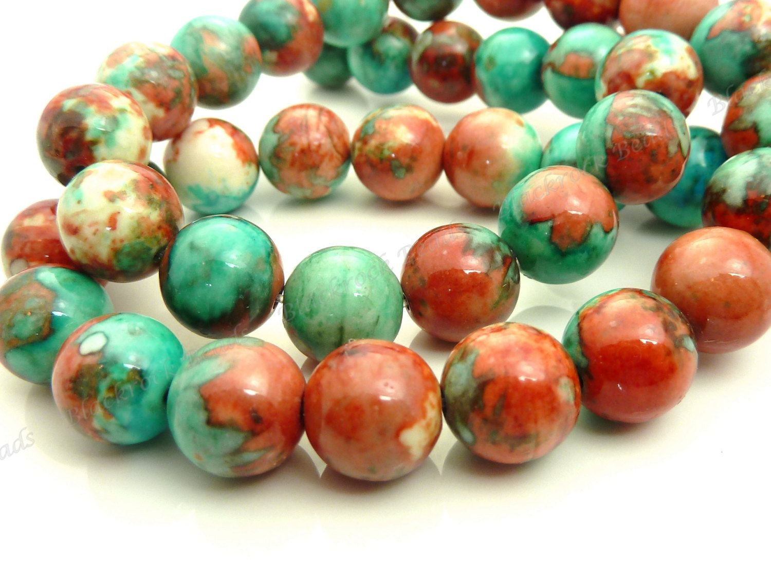 8MM MATRIX TURQUOISE GEMSTONE RED BLUE ROUND 8MM LOOSE BEADS 15.5/""