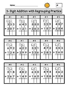triple digit addition with regrouping worksheets worksheets math and school. Black Bedroom Furniture Sets. Home Design Ideas