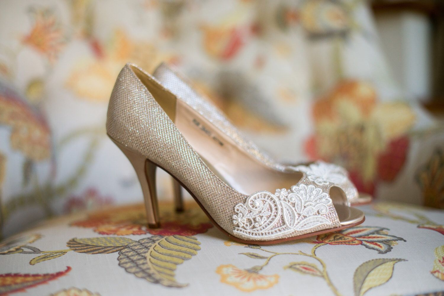 Wedding shoes gold champagne silver metallic peep toe high heels ...