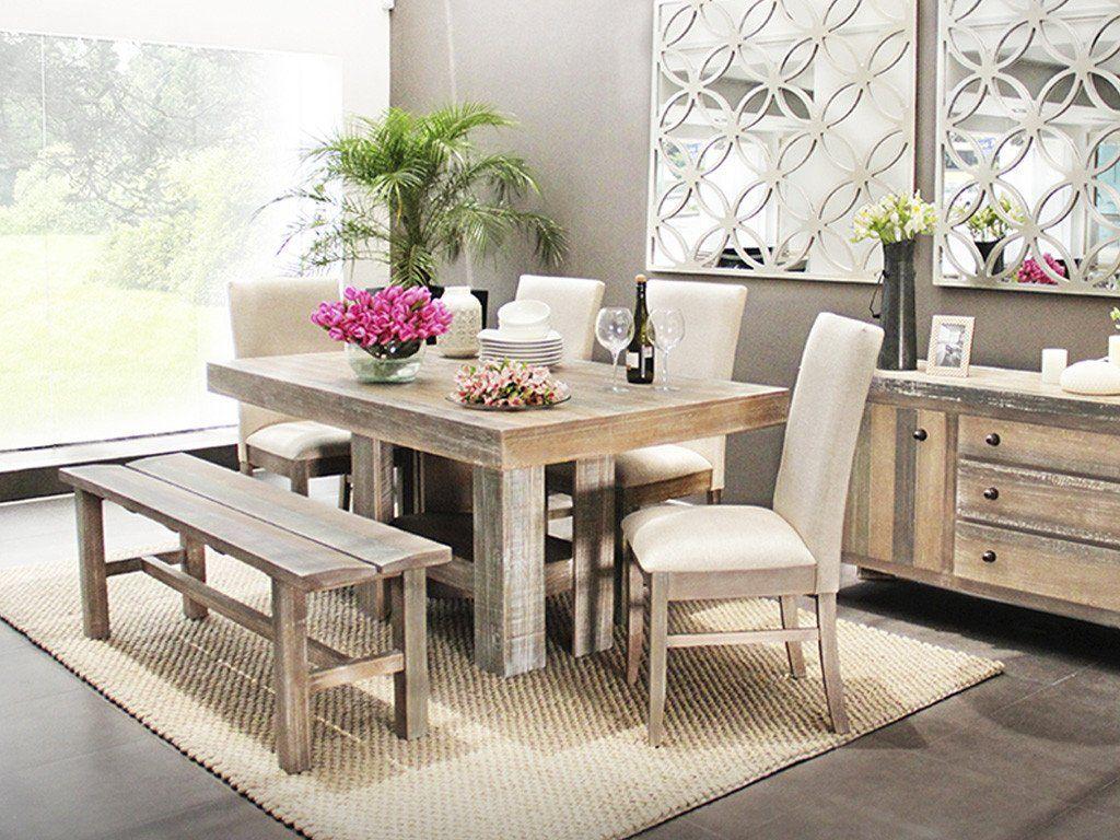 Set mesa de comedor rectangular 4 sillas y banca vintage for Mesas y sillas de comedor en carrefour