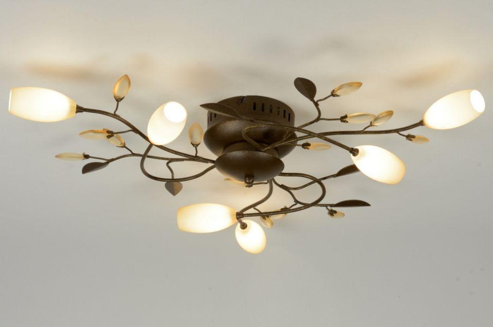 """65cm plafondlamp bestaat uit 6 lichtpunten. Elk lichtpunt zit in een prachtig okergeel glas; de knop van de bloem. Het bronzen armatuur is voorzien van twee """"blad"""" soorten. Het ene is uitgevoerd in brons, het andere in geel gekleurd mat glas. Deze combinatie geeft een bijzonder sfeervol effect.  Deze lamp brengt sfeer en gezelligheid in elk interieur! Voor woonkamer , tafel , keuken , slaapkamer . Home interior lights / ONLINE SHOP : click on this LINK ( www.rietveldlicht.nl )"""