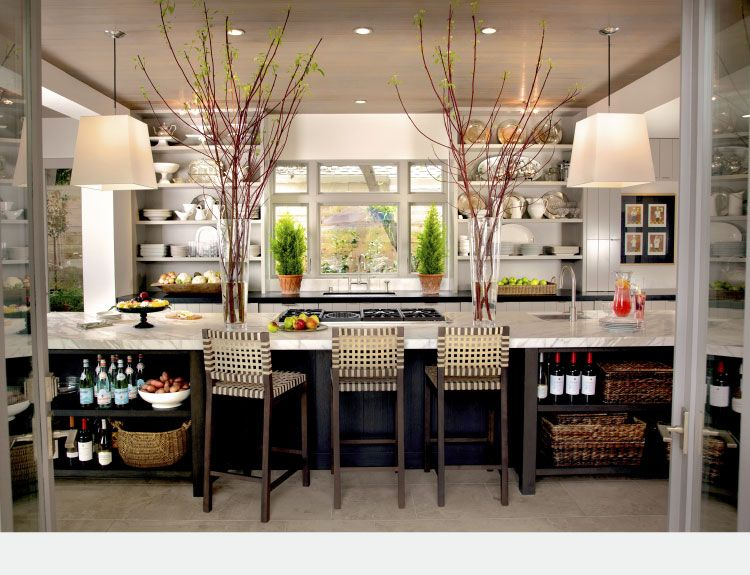 Humongous kitchen island with carrera type marble, long width of