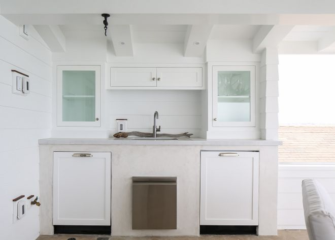 Outdoor Kitchen Shiplap The Outdoor Wet Bar Features Two Miele Dishwashers And An Ice Maker Winkle Custo California Beach House Coastal Interiors Beach House