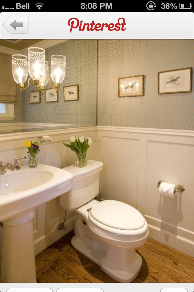 Wainscoting In Bathroom Mirrored Wall And Wallpaper Small