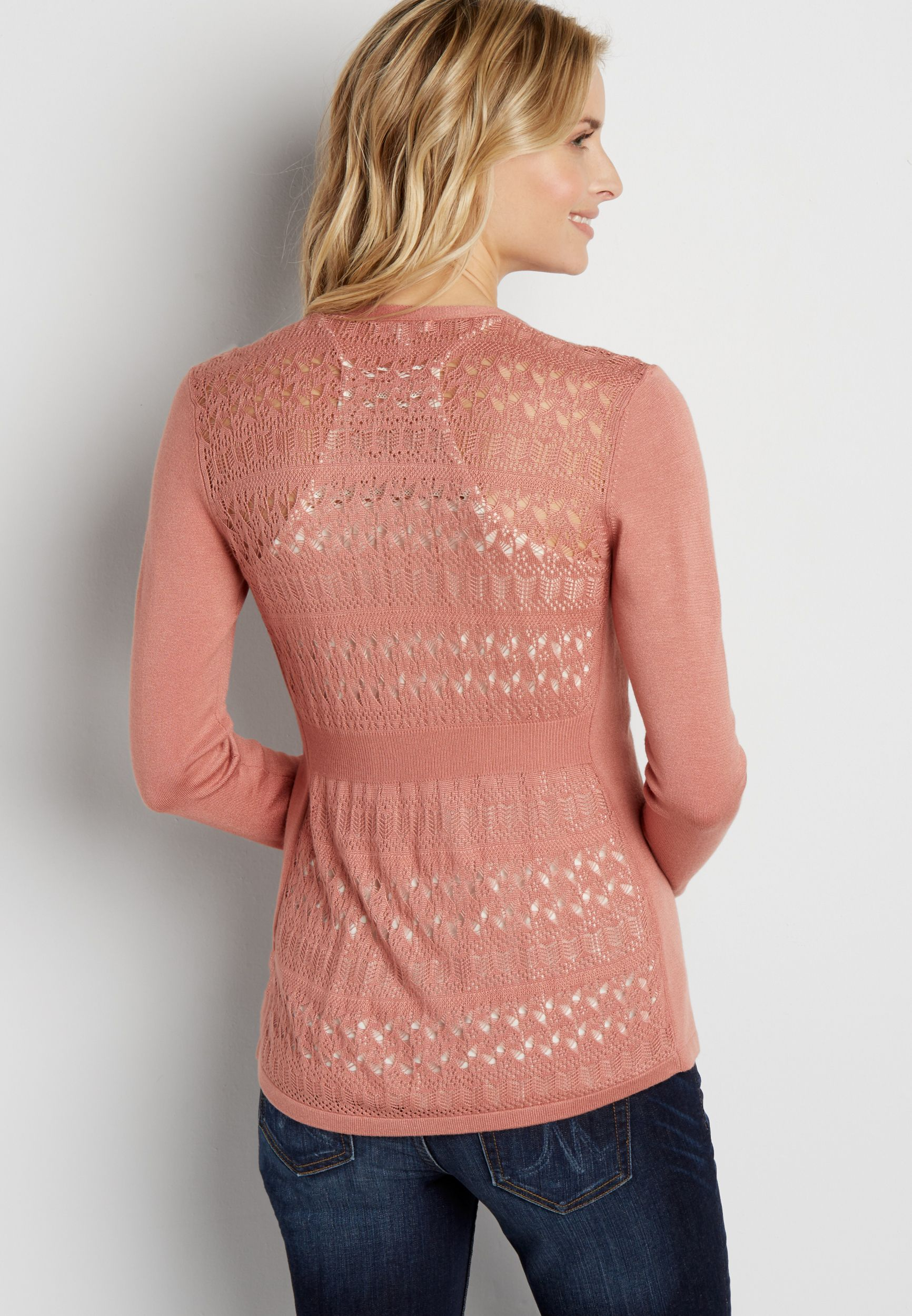 4ff1943f98 cardigan with patterned pointelle stitched back (original price ...