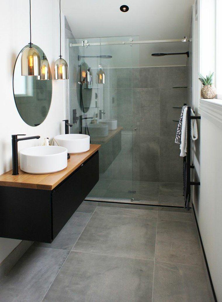 salle de bains style industriel miroir mur rond idee comptoir luminaire suspension