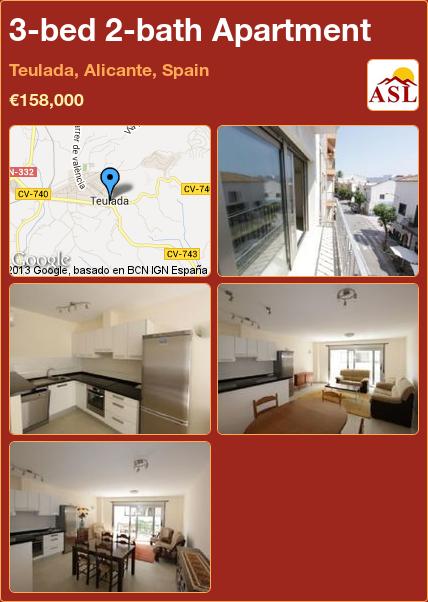 3-bed 2-bath Apartment in Teulada, Alicante, Spain ►€158,000 #PropertyForSaleInSpain