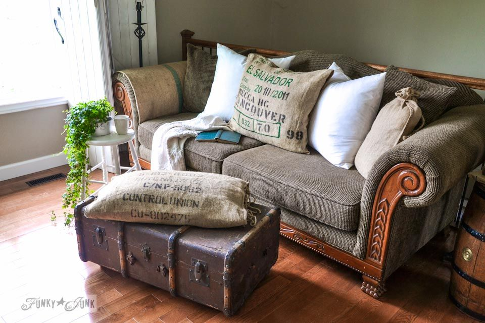 No Sew: Burlap Coffee Bean Sack Sofa And Ottoman Pillows... Instantly! This  Will Definitely Make You Chuckle :)