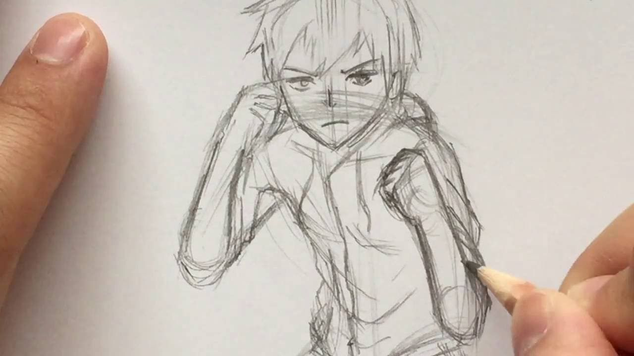 How To Draw Anime Boy Fighting Pose Stance Slow Narrated Tutorial No Fighting Poses Anime Drawings Cartoon Girl Drawing