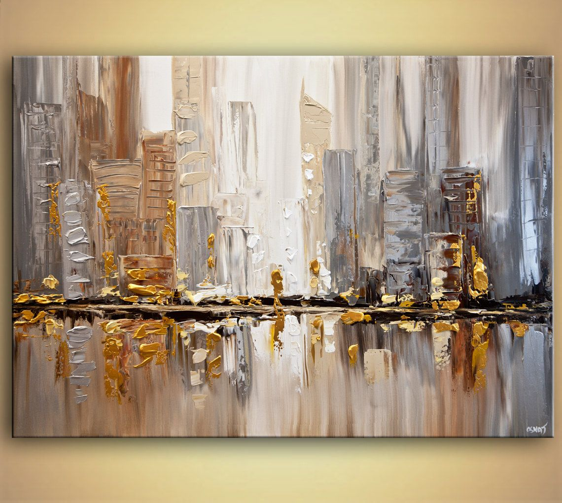 original city painting modern acrylic palette knife abstract gold