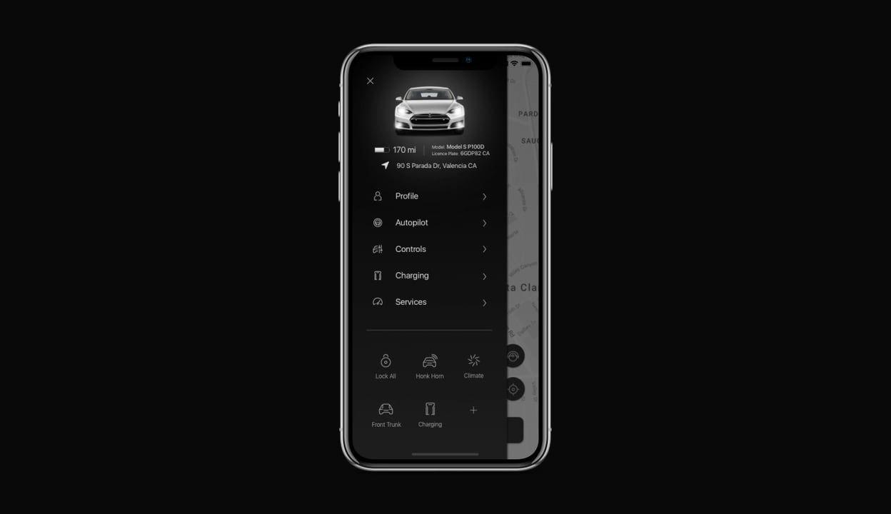 Tesla autopilot app menu ux animation app control