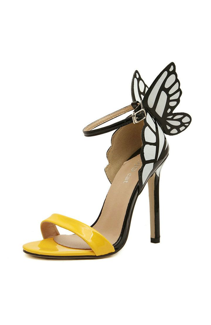 Contrast Butterfly Detailed High Heel Sandals - Sandals - OuterInner.com