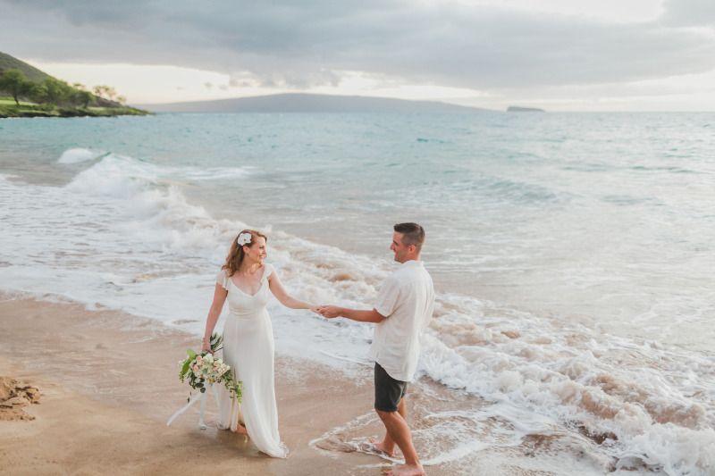 Soft Sunset Bride And Groom Wedding Beach Photos