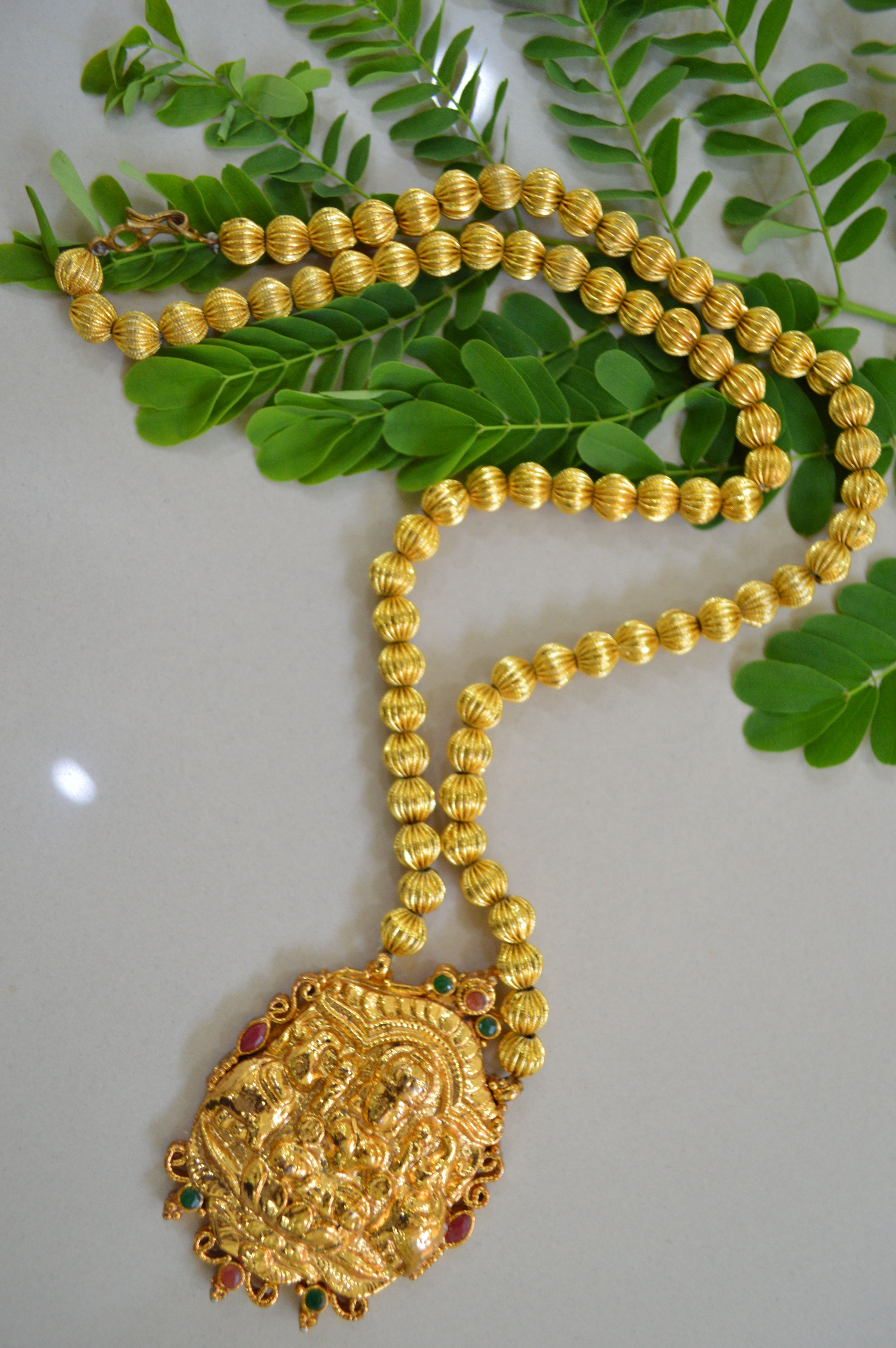 Lakshmi Pendant with Balls Chain 1 gm gold or imitation jewelry