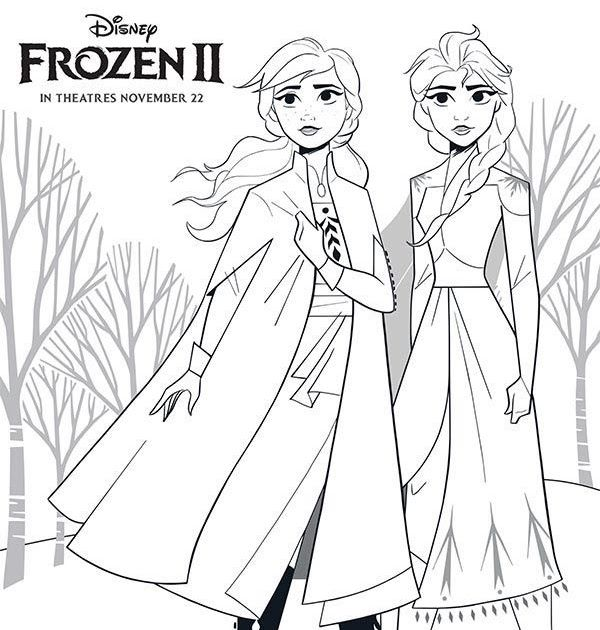Queen Elsa Anna Frozen 2 Coloring Pages Free in 2020 ...