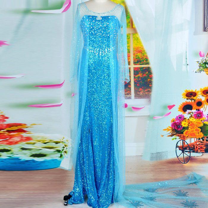 Forzen Queen Elsa Blue Paillette Women\'s Halloween Party Costume
