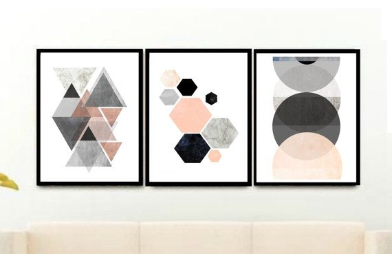 Unframed Modern Wall Art Scandinavian Print Minimalist Art Mint And Gray Print Geometric Art Wall Prints 8 x 10 Watercolor Abstract Geometric Print Geometric Wall Art