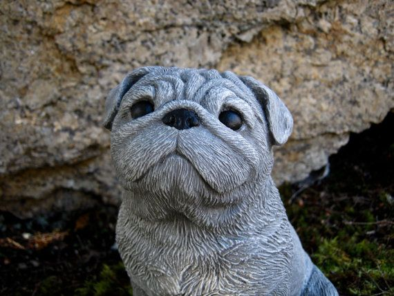 Pug Statue Concrete Painted Pug Cement Dog By Westwindhomegarden Pugs Painting Concrete Cute Animals