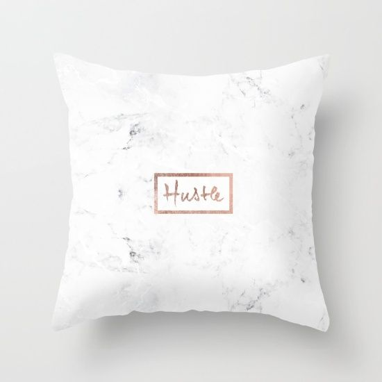 Modern hustle typography rose gold white marble Throw Pillow