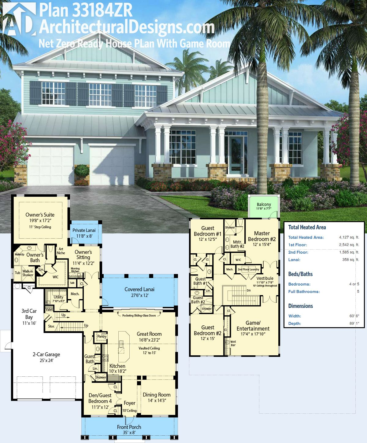 Plan 33184ZR: Net Zero Ready House Plan With Game Room