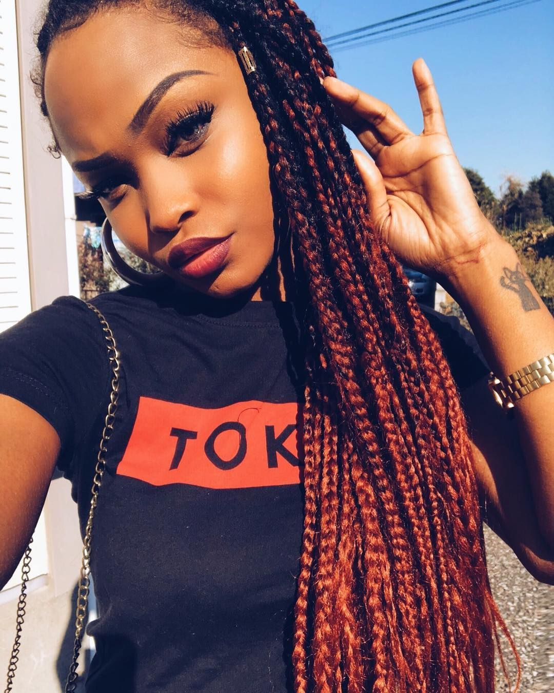 Red Burgundy Orange Box Braids Burgundy Box Braids Box Braids Hairstyles Ombre Box Braids