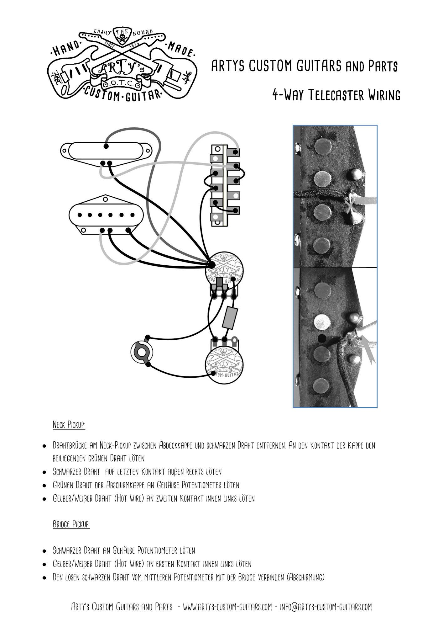 Arty S Custom Guitars Wiring Diagram 4 Way Control Plate