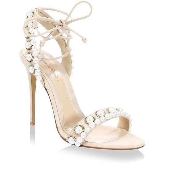 b2635650a Monique Lhuillier Reese Pearl-Embellished Suede Ankle-Tie Sandals  (11.939.305 IDR) ❤ liked on Polyvore featuring shoes