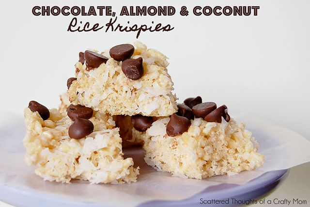 Chocolate, Almond and Coconut Rice Krispies recipe. Yum!