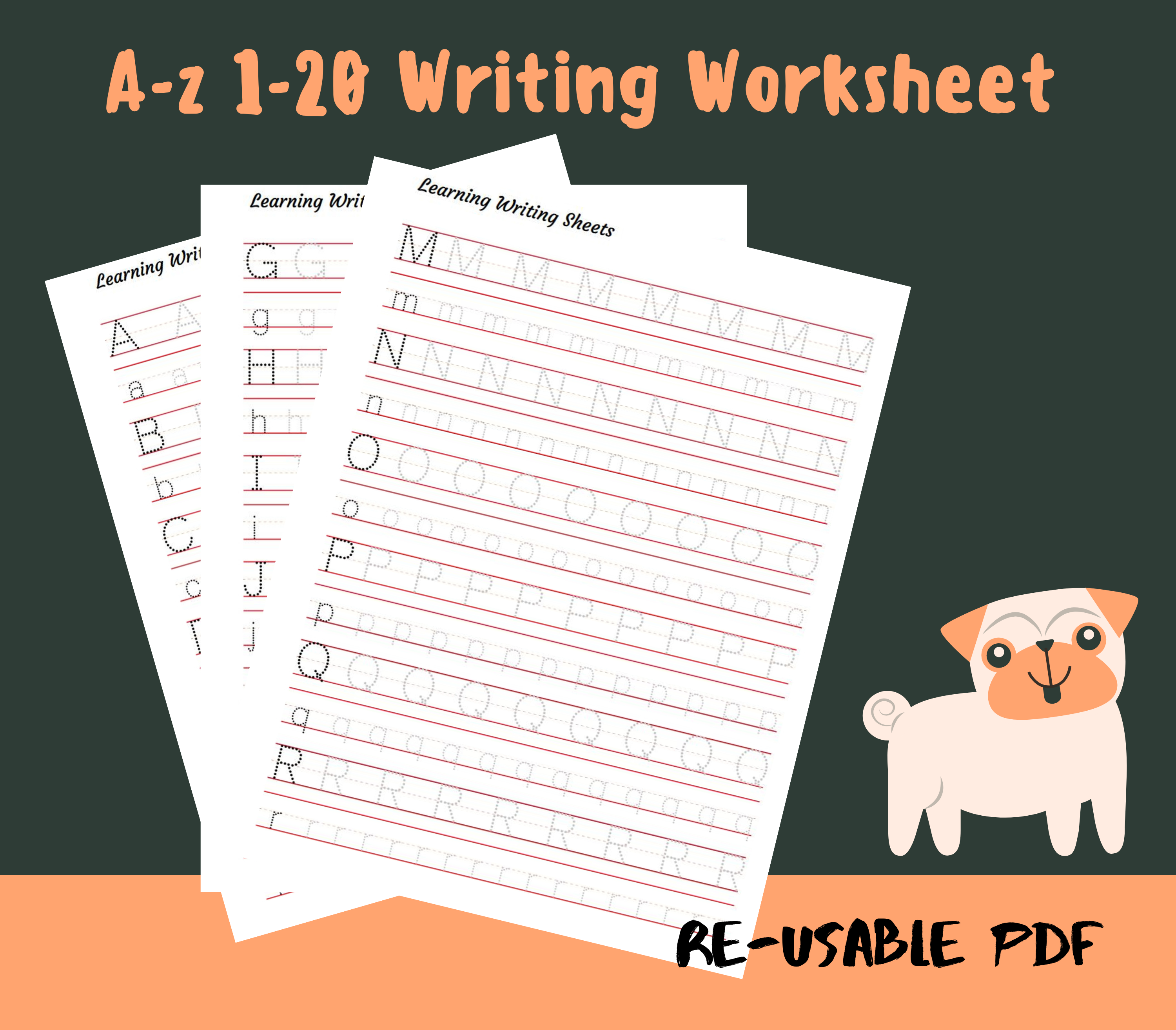 Printable A Z 1 20 Writing Worksheet Handwriting Print