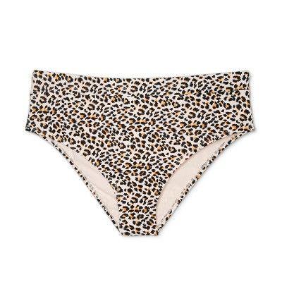62fd2a019d3d3 Women s Plus Size Ribbed High Leg High Waist Bikini Bottom - Xhilaration  Animal Print 20W 22W