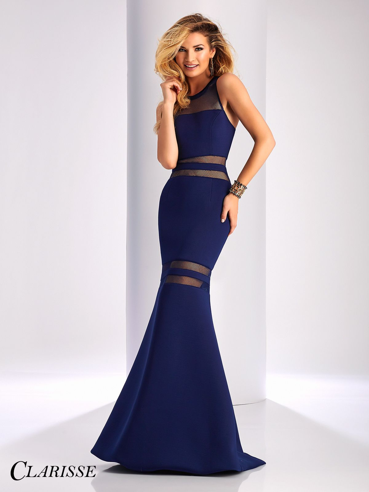 Clarisse mesh detail neoprene prom dress navy prom dresses