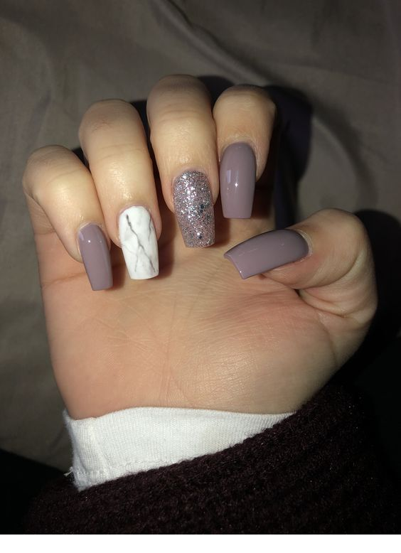 Medium Square Nail Designs : medium, square, designs, Mauve, White, Medium, Nails, Square, Acrylic, Nails,, Girly