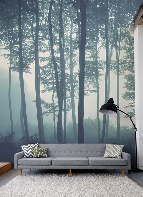 Sea of trees forest mural wallpaper for Cd mural wall display