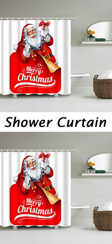 Santa claus pattern waterproof christmas shower curtain - Bathroom coca cola shower curtain ...
