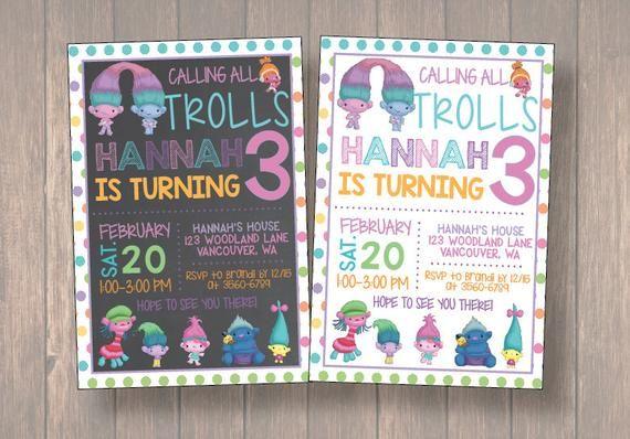 Trolls Invitation Birthday Party Invites Printables Printabl