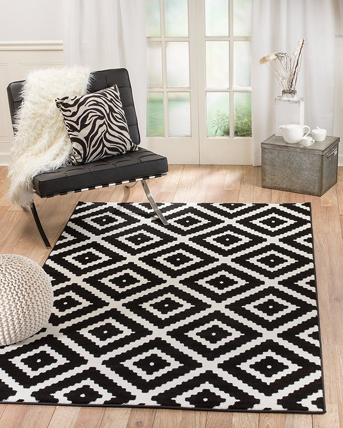 Afrocentric African Theme Black And White Rug Modern Area Rugs White Rug Black White Rug