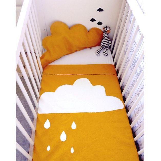 Studioblomm babydeken ledikant wolk oker voor for Tweeling ledikant