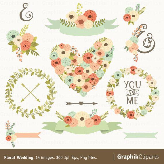 Floral Wedding Clipart. Flower Clipart, Flower Vector, PNG ...