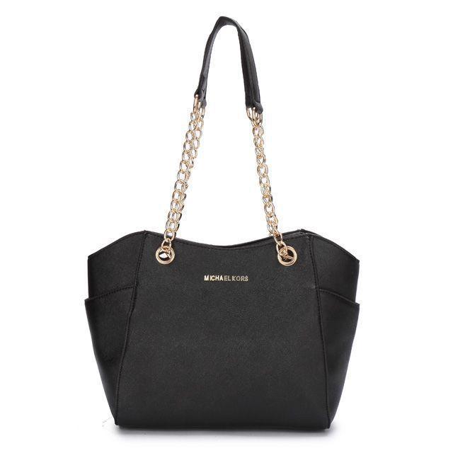 Michael Kors Outlet Chelsea Two-Tone Medium Black Shoulder Bags