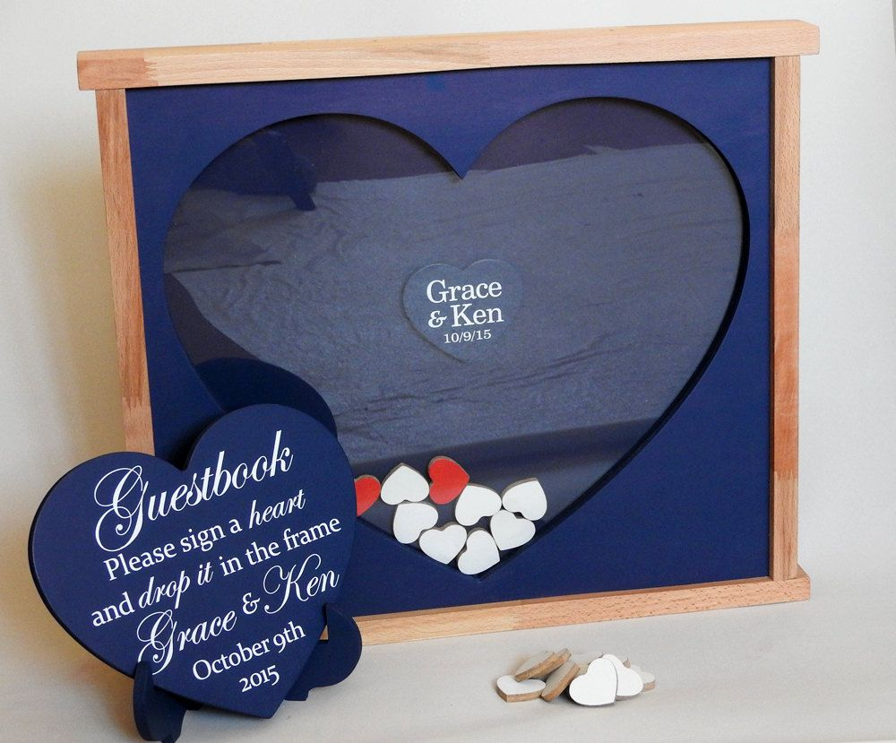 Navy Wedding Drop Boxwooden Guestbook With Hearts Box Guest Book Alternative