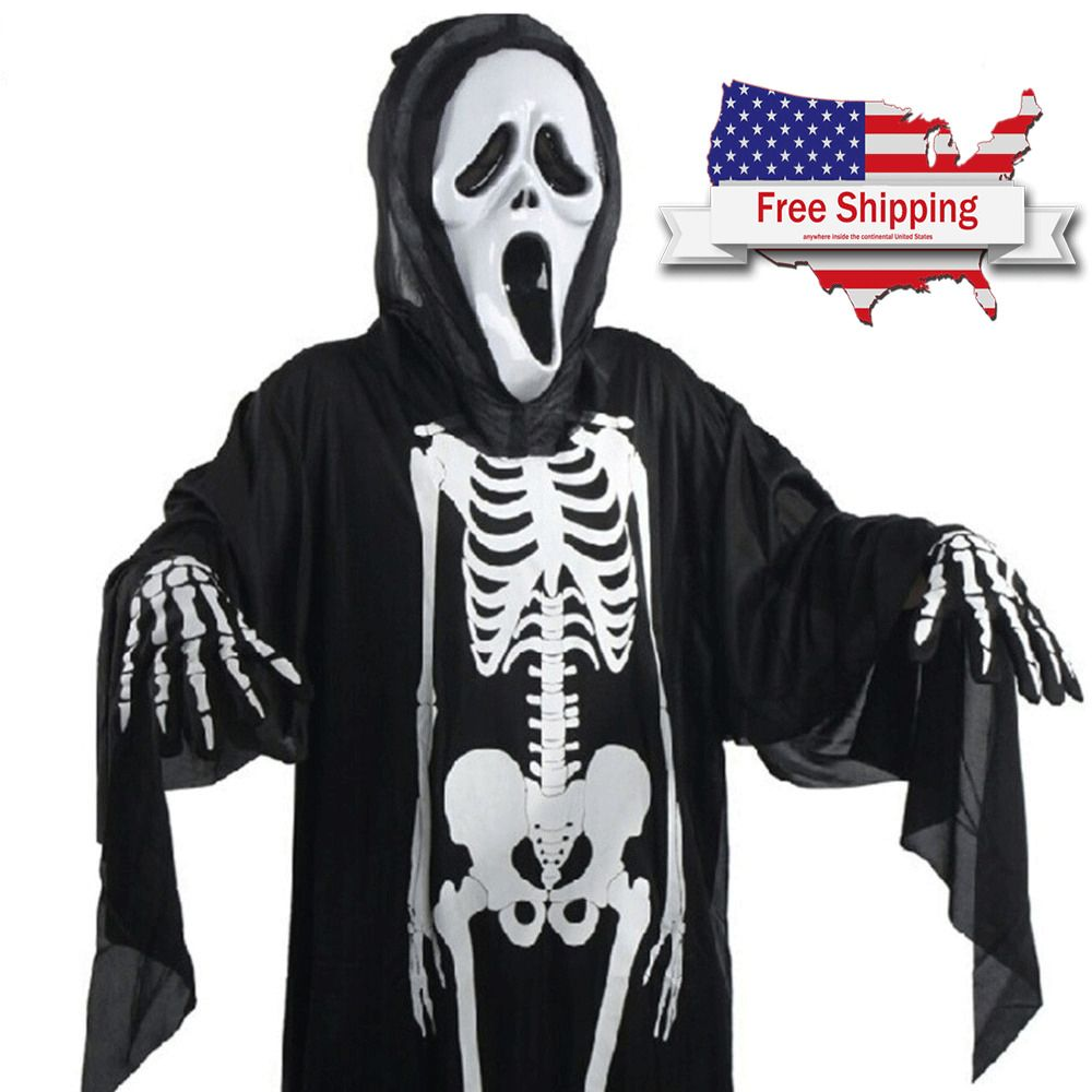 Halloween Scary Costume Skull Skeleton Ghost For Children