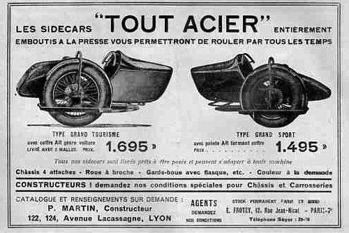 Paul Martin était une marque très peu connue. Le châssis entourait la roue comme sur les René Gillet.