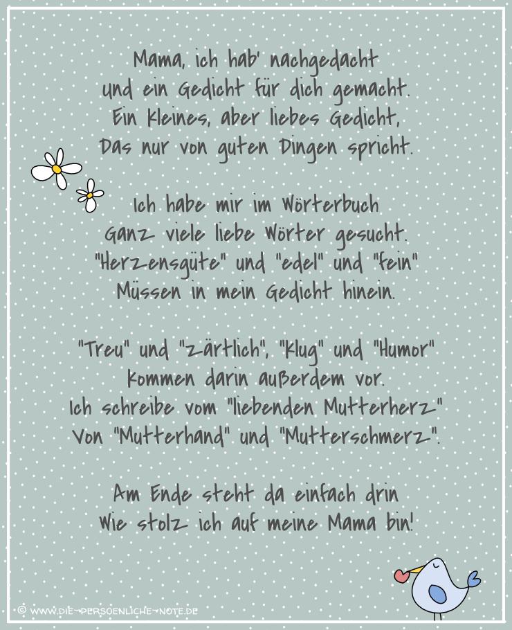 Die Persönliche Note Freebie Muttertagsgedicht Für Kinder
