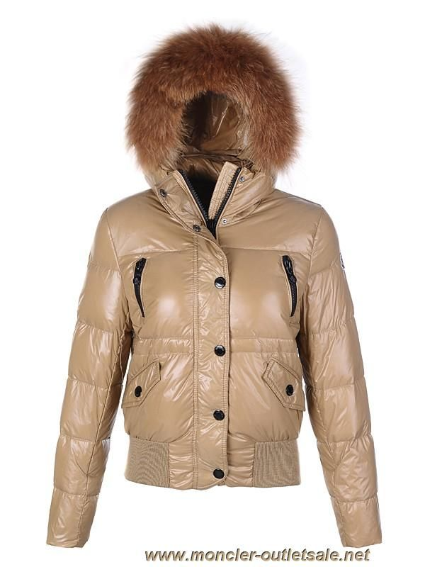 Discounts Moncler Classic Women Down Jacket Single-Breasted Slim Khaki