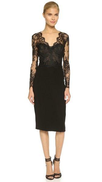 Monique Lhuillier Long Sleeve Sheath Dress