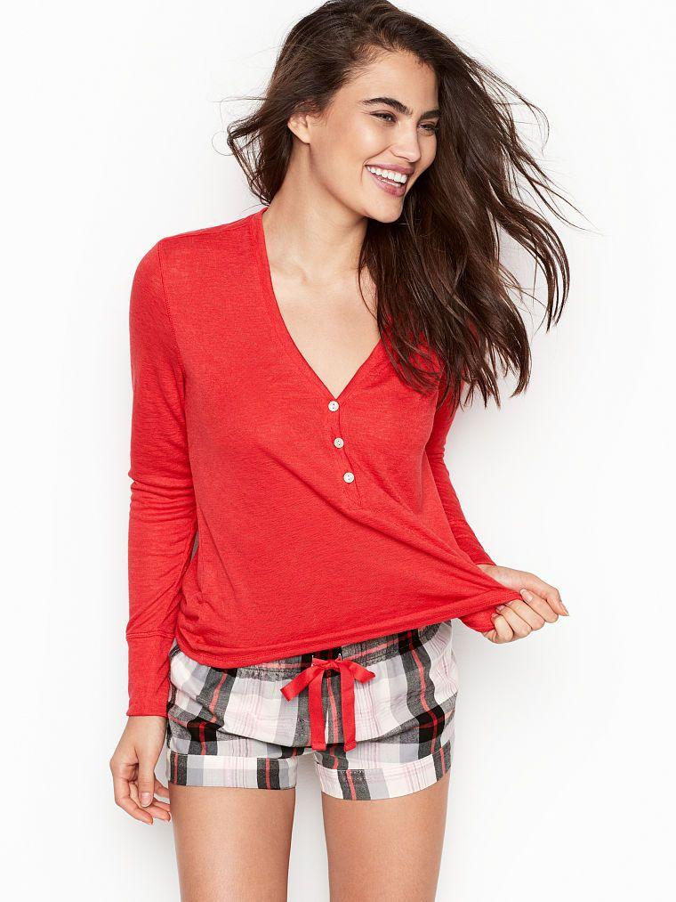 Victoria s Secret Henley Flannel Short PJ  ede77b5e3
